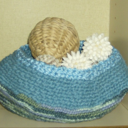 Sea inspired balls in a bowl I crocheted. Photo by Holly Tierney-Bedord. All rights reserved.