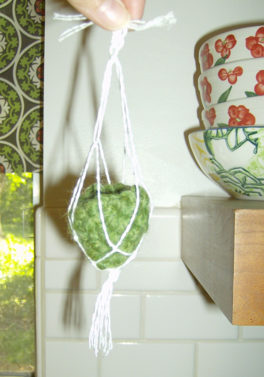 Tiny crocheted pot and thread macrame plant holder by Holly Tierney-Bedord. All rights reserved.