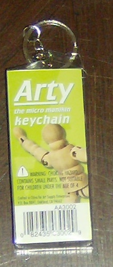 Arty (key ring version), the little wooden guy who help you draw. Photo by Holly Tierney-Bedord. All rights reserved.
