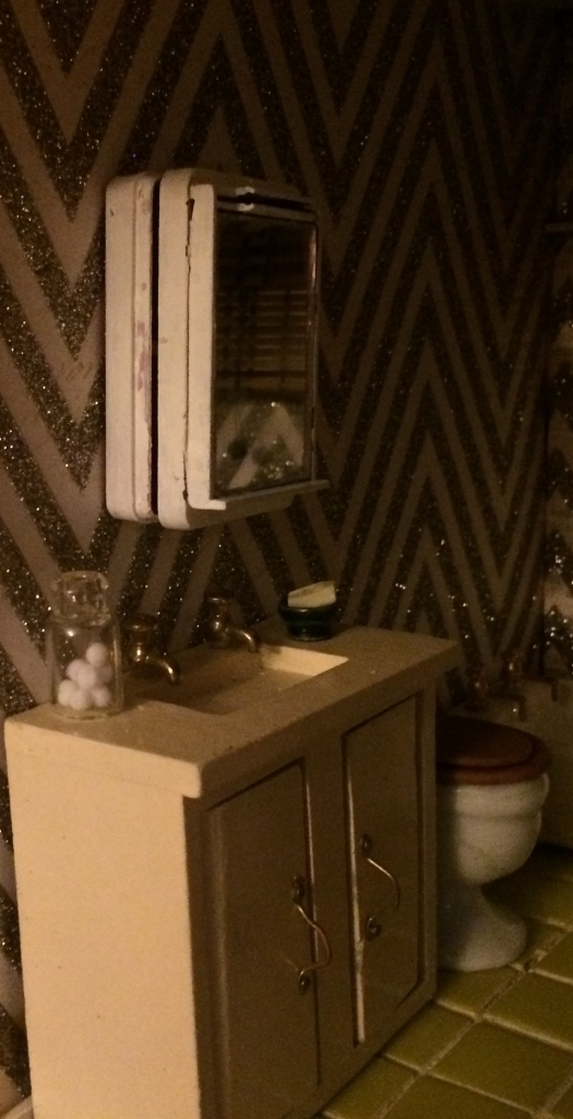 Bathroom with handmade medicine cabinet. Photo by Holly Tierney-Bedord. All rights reserved.
