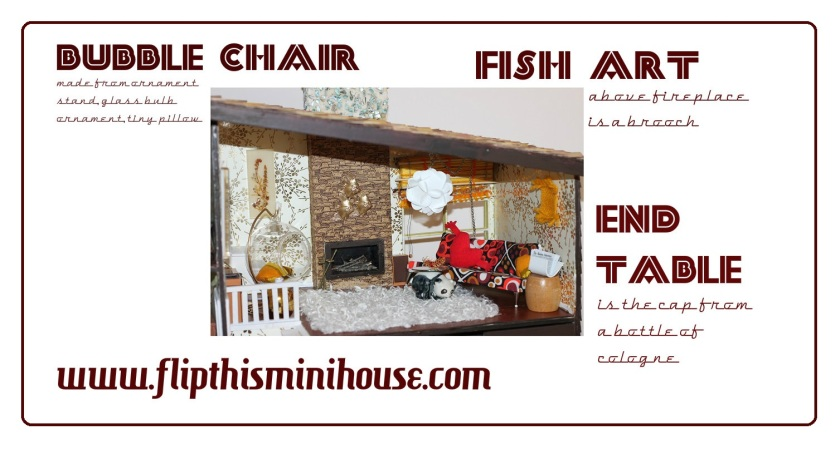A closer look at the Flip This (Mini) House living room. To learn how to make a bubble chair, faux modern pendant light, and much more, take a look at old posts.
